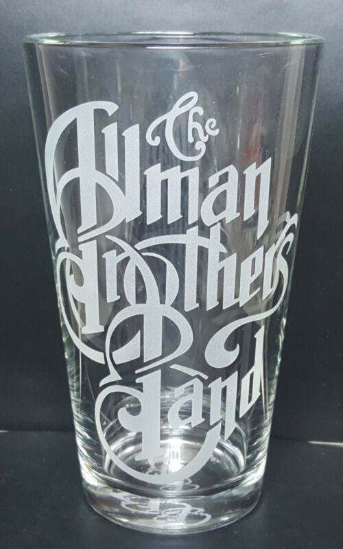The Allman Brothers Band Clear or Cobalt Blue Sandblasted Etched Pint Glass