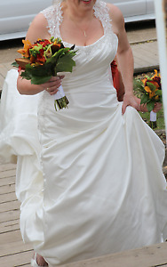 Ivory lace and satin wedding dress for sale