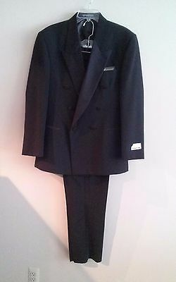 (Tuxedo/Suit-CLUBMAN-Black/Wool/Double Breasted/Peak Lapel/Formal-40R-NWT - USA)