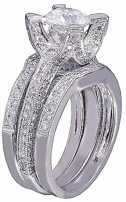 14k White Gold Round Cut Diamond Engagement Ring And Band Art Deco Bridal