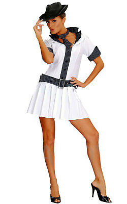 LADIES GANGSTER COSTUME WITH HAT ADULT FANCY DRESS OUTFIT 1920'S MOLL MOBSTER (Moll Outfit)