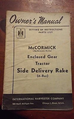 International Harvester Mccormick-deering Side Delivery Rake 4 Bar