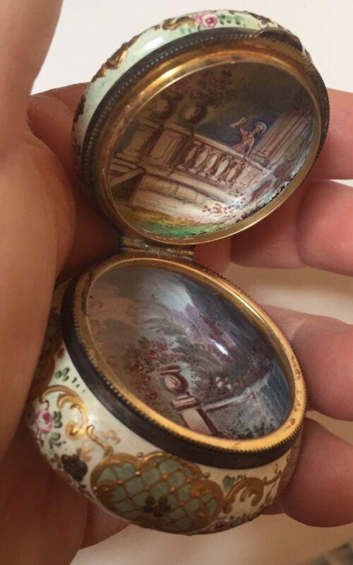 1800s French Romantic Scenes Inside &Out HandPainted Enamel Sterling Trinket Box