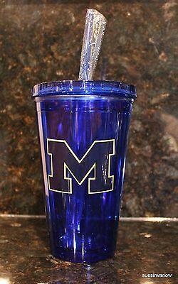 Michigan Wolverines Ncaa Tumbler - Univ Michigan Wolverines Insulated Travel Tumbler NCAA College 16oz Cup W/Straw