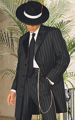 Boy's & Youth Zoot Suit Gangster 3/4 Length Pinstripe Frock Tuxedo Coat  (Boys Zoot Suits)