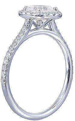 GIA H-SI1 14k White Gold Cushion Cut Diamond Engagement Ring Halo Deco 1.20ctw 4