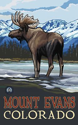 Northwest Art Mall Mount Evans Colorado Moose in Stream Painting by Paul A La...