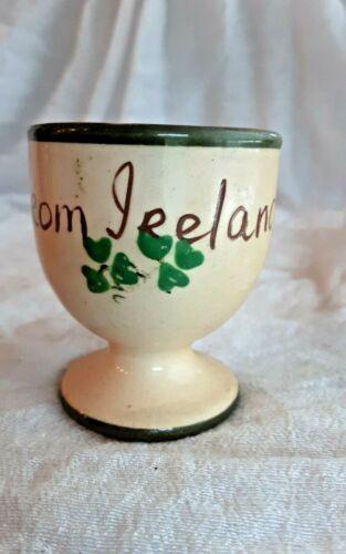 EGG CUP POTTERY IRELAND VINTAGE SOUVENIR IRISH GIFT HANDPAINTED SHAMROCK LUCKY