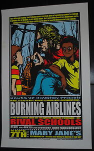 Burning Airlines Houston TX 2001 concert poster Jermaine art Jawbox Wool Cobain