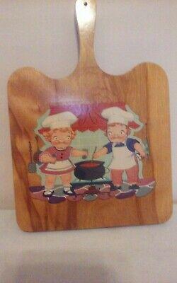 Vintage Wooden Campbells Soup Kids Handled Cutting Board Decorative