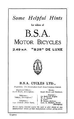 (0213) 1928 BSA 2.49hp B28 instruction book