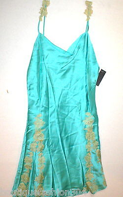NWT New Designer Josie Natori Night Gown Chemise Blue Tan L Silk Lace Womens Bei