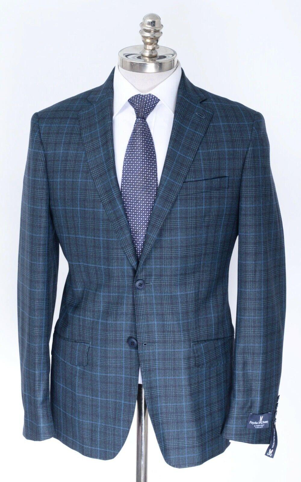 NWT PSYCHO BUNNY by Robert Godley Green Glen Check Wool Sport Coat 40 R (EU 50)