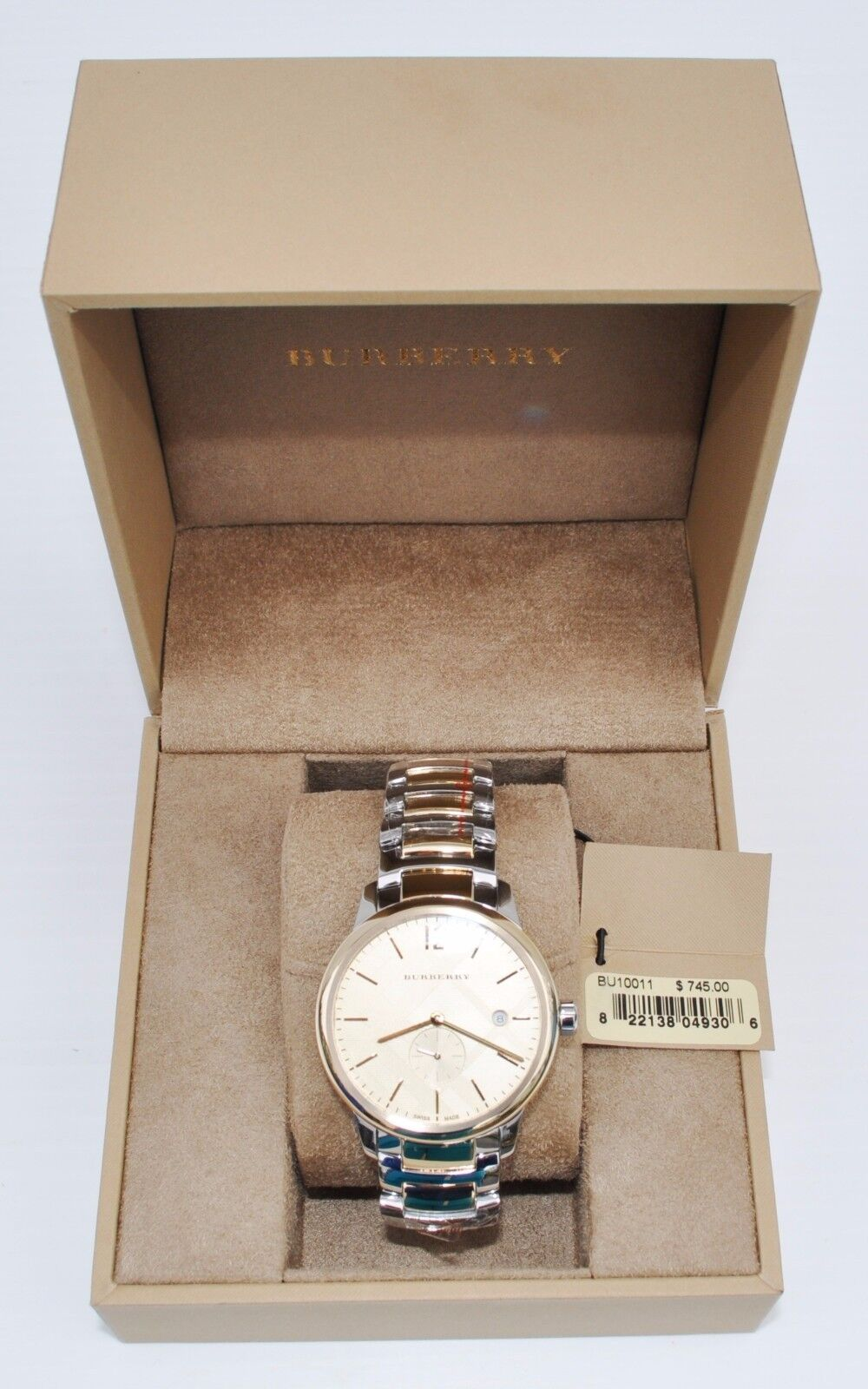 Burberry Mens The Classic Round TwoTone Stainless Steel Watch MSRP 745