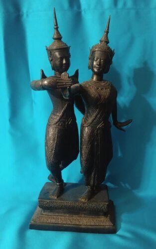 Antique Vintage Bronze Thai Thailand Siam Dancers Sculpture Incredible Detail