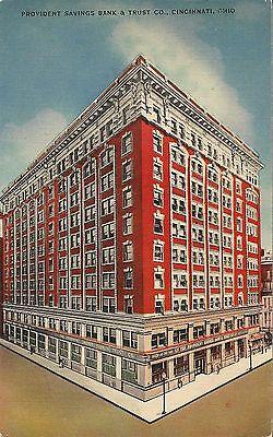 Postcard Ohio Oh Cincinnati Provident Savings Bank   Trust Linen 1940S