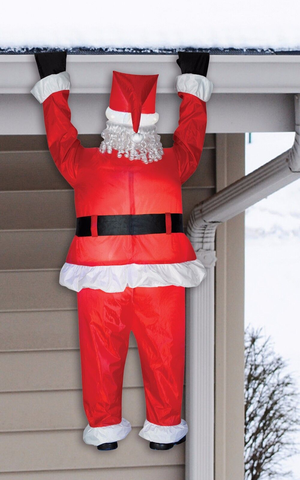 Christmas Holiday Lifesize Santa Easy Air Inflatable Hanging From House Light Up