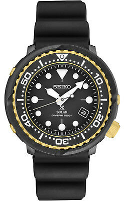 New Seiko Solar Diver 200M Black Dial Silicone Strap Men's Watch SNE498