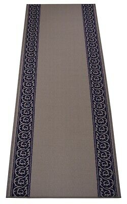 Antibacterial Custom Size Non Skid Ivy Scroll Border Navy Blue Runner Rug 26