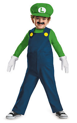 Luigi Boys Deluxe Costume Super Mario Brothers Jumpsuit Disguise Toddler
