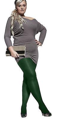 GREEN PLUS SIZE TIGHTS 60 DENIER HOSIERY COMFORTABLE GUSSET LEGWEAR (Plus Size Green Tights)