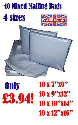 40 Mixed Mailing Bags Strong Grey Plastic Poly Postal Envelopes Self Seal A5