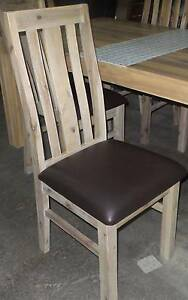 6 DINING CHAIRS GREY WASH WITH CHOC BROWN PU SEAT BASE Thebarton West Torrens Area Preview