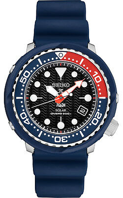 New Seiko Solar Padi Diver 200M Black Dial Silicone Strap Men's Watch SNE499