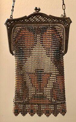 Vintage 1920s Whiting & Davis Art Nouveau Deco Metal Mesh & Enamel Evening Bag