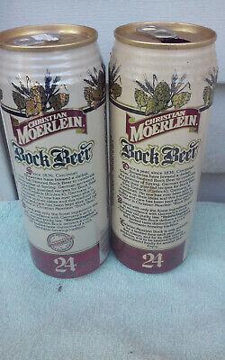 2 DIFF 24OZ CHRISTIAN MOERLEIN BOCK ALUMINUM CHEAP EMPTY BEER CAN CAN box 3 gar