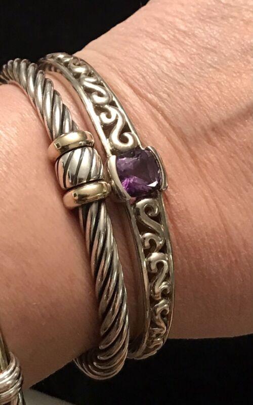 Sterling Silver 925 Brazilian Cut Amethyst Cuff Bracelet