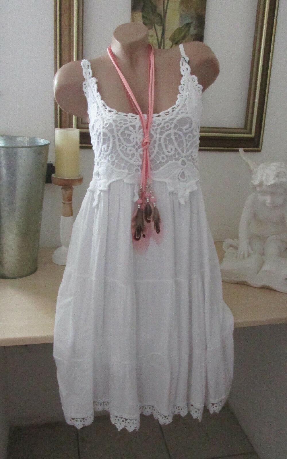 Neu Häkel Kleid Träger Vintage Blogger Sommer Hippie Spitze Weiß IBIZA 36 38 40