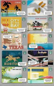 Reduced $5 - 10 Starbucks City Gift Cards Mint! Texas Florida Boston NYC LA  DC