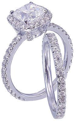GIA G-VS2 18k White Gold Cushion Cut Diamond Engagement Ring And Band Halo 2.30c 8