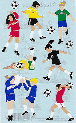 Mrs. Grossman's Giant Stickers - Soccer Girls - Soccer Balls, Goalie - 2 Strips