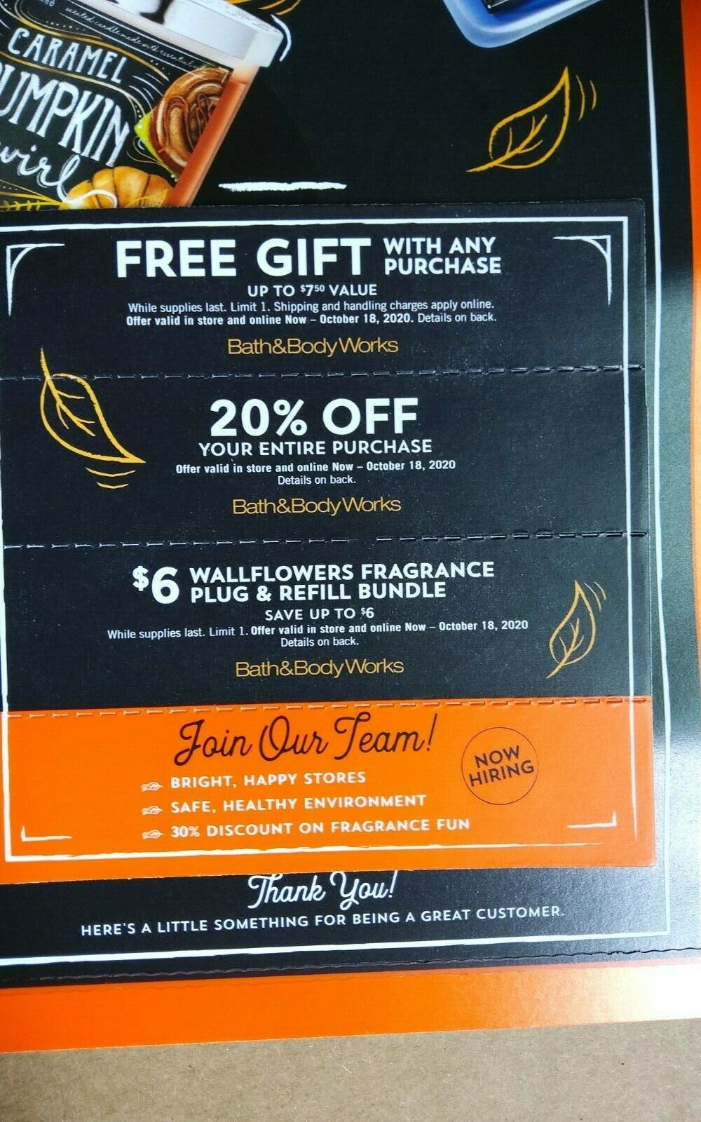 Bath And Body Works Coupons 3 - Gift 20 Off 11 Candle - Exp 10/18/20 - $11.00