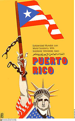 Liberty Puerto Rico - Political poster.FREE Puerto Rico.Independency.Statue of Liberty.Cold War Art.28