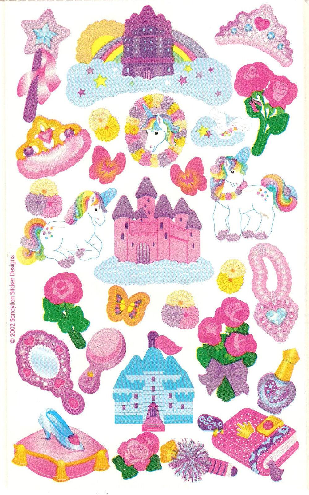 Sandylion Vintage Fantasy Unicorn Castle Princess Stickers ...