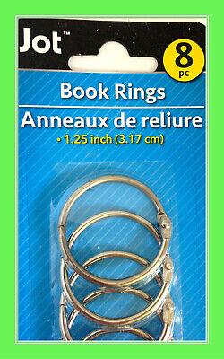8pc Loose Leaf 1.25 Book Binder Metal Rings Keychain Scrapbook Craft