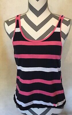 XS Abercrombie & Fitch Women's Pink White Blue Striped Tank Top Shirt Racerback