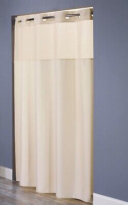 Hookless HBH49MYS05SL77 Illusion Shower Curtain With Snap In Liner Sheer Top Bei