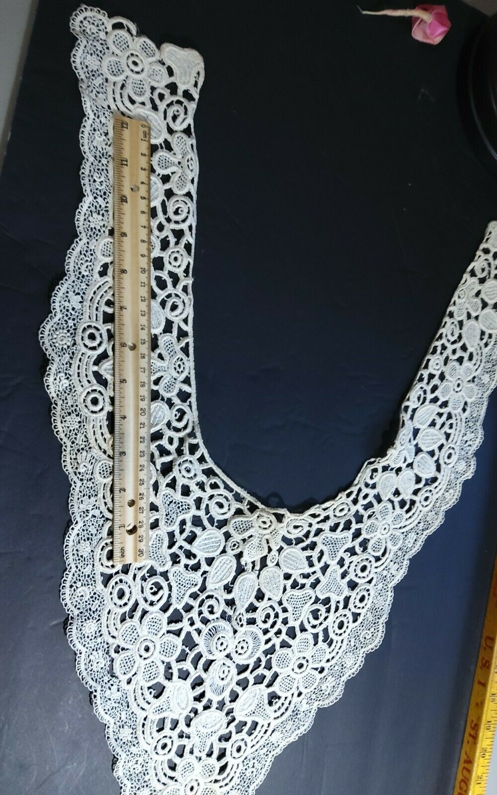 Antique Edwardian Large Bertha Collar Schiffli Lace With Floral Design Gorgeous  - $24.90