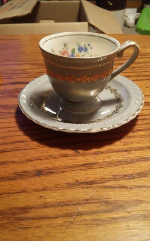 Steubenville Pottery Monticello Herman Kupper Demitasse Tea Cup & Saucer Set