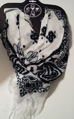100% Rayon Fantasia Accessories Black White Bandana Scarf Headband Necktie