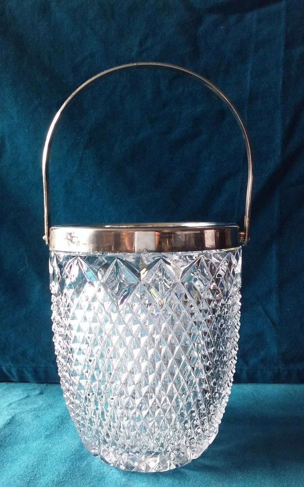 Diamond Point Indiana Glass Ice Bucket /Silver Plate Trim /Handle /Pressed Glass
