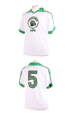 ZAIRE LEOPARDS WHITE 1974 WORLD CUP NUMBER 5 FOOTBALL SHIRT MEDIUM M image