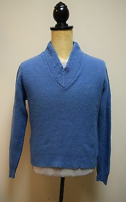 VINTAGE RAYBROOKE 100% Lambswool Denim Blue Vneck Sweater Size Mens S/Wos M