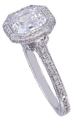 GIA H-VS2 14K White Gold Asscher Cut Diamond Engagement Ring Bezel 2.25ctw 8