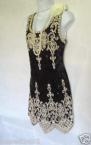 1920'S STYLE GATSBY VINTAGE LOOK CHARLESTON SEQUIN FLAPPER DRESS SIZE 10/12