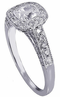 GIA H-VS2 14K WHITE GOLD CUSHION CUT DIAMOND ENGAGEMENT RING BEZEL SET 1.70CTW